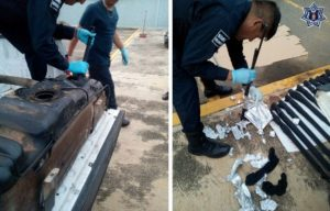 En el interior del tanque de gasolina encontraron desarmadas dos escopetas calibre 16 y 11 calibre 22 de varilla.