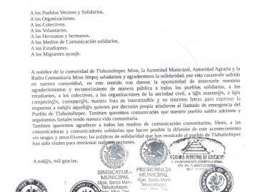 Agradece Tlauitoltepec  la solidaridad recibida