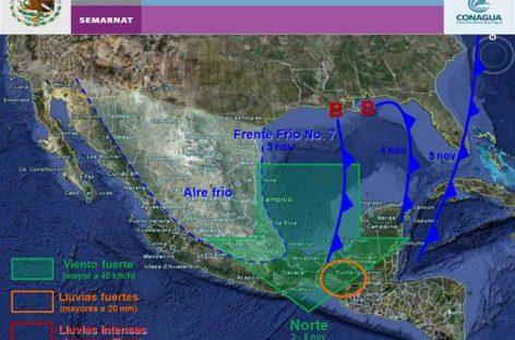 Frente frío número 7 traerá lluvias moderadas a Oaxaca