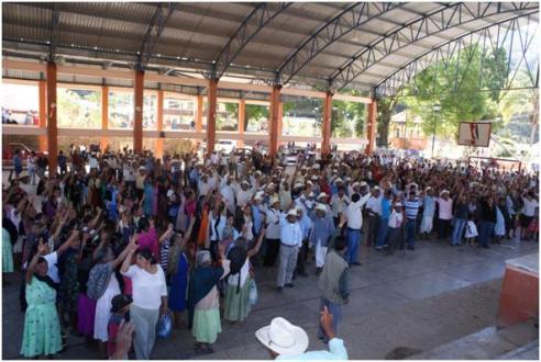 Asamblea del pasado 21 de enero en donde repudiaron al presidente electo de Eloxochitlán Manuel López Zepeda