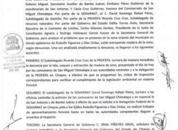 Minuta de acuerdo firmada entre gobierno y Comisariado Comunal de San Miguel Chimalpa