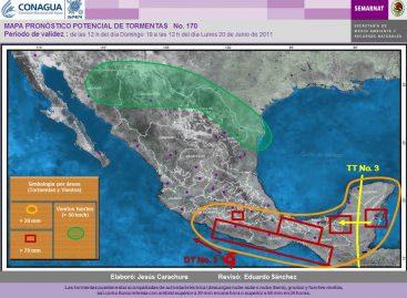 Tormentas intensas en las costas y el Caribe de México, en las próximas 24 horas
