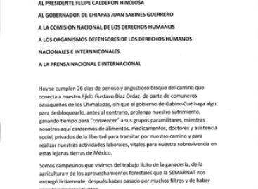 Hacen ejidatarios chiapanecos extrañamiento público a gobernador de Oaxaca y a la CNDH