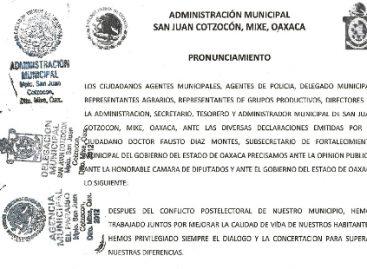 Denuncian conflictos en San Juan Cotzocon Mixes