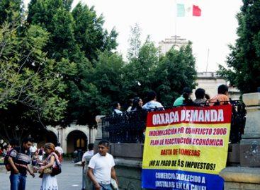 Con protesta en el Kiosco del Zócalo de Oaxaca demandan audiencia y reactivación económica