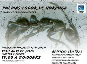 """Impartirá Rito García taller de escritura creativa """"Poemas de color hormiga"""""""
