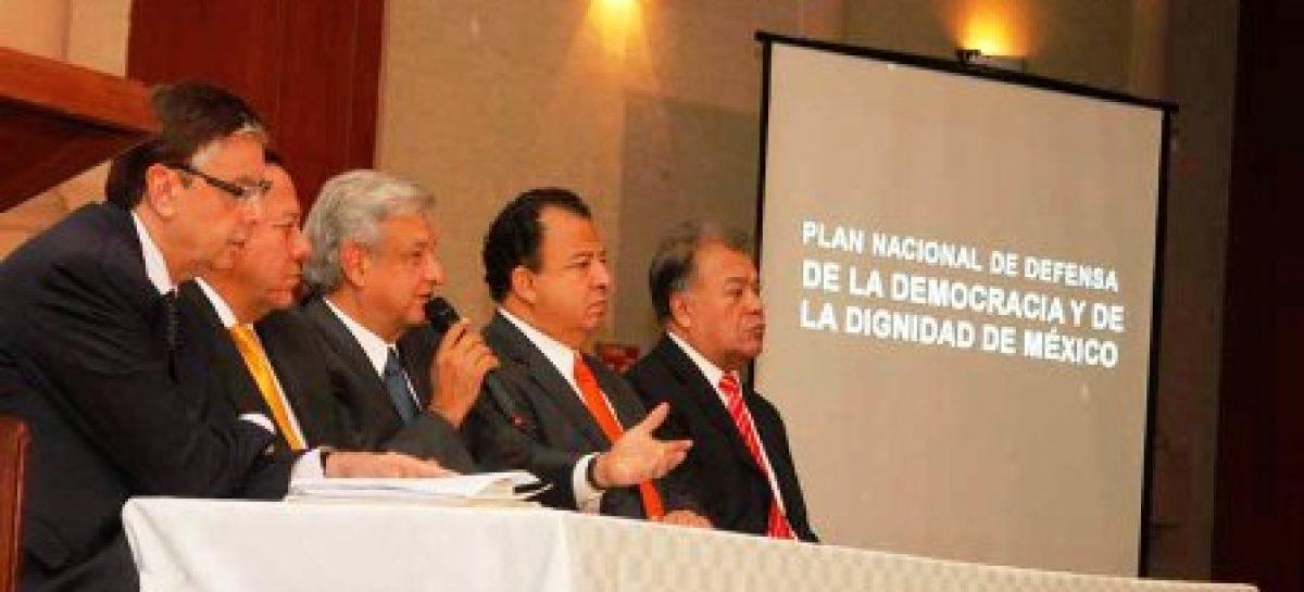 Defensa de la Democracia y Dignidad de México por vía pacífica, sin caer provocación: AMLO