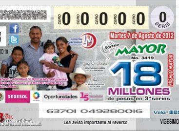 Conmemora la Lotería Nacional aniversario de Oportunidades, en su sorteo mayor número 3419