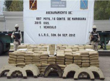 Aseguran cerca de cuatro toneladas de mariguana y 205 mil 300 pesos en Sonora