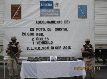 Incauta Ejército más de 26 kilogramos de droga cristal, en Sonora