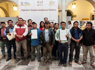 Pactan fin de conflicto agrario en zona Mixe, durante XXIII Audiencia Pública, en Oaxaca