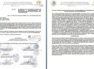 Destituyen regidores a Presidente Municipal de Tlacoatzintepec; descubren presunto desvío de recursos