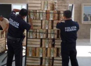 Asegura Policía Federal más de 100 paquetes con droga oculta en un tractocamión, en Sonora