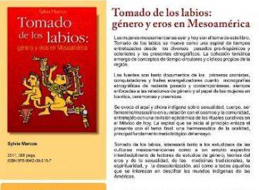"""Presentarán libro """"Tomado de los Labios: género y Eros en Mesoamérica"""", en Oaxaca"""