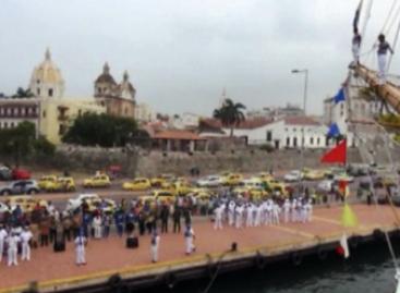 Arriba  Buque Escuela Cuauhtémoc a Cartagena de Indias, Colombia