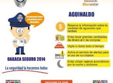 Refuerzan vigilancia con Operativo Diciembre Seguro 2014 ante pago de aguinaldos en Oaxaca