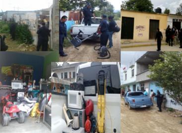 Decomisan diversos electrodomésticos durante cateos judiciales en San Antonio de la Cal, Oaxaca