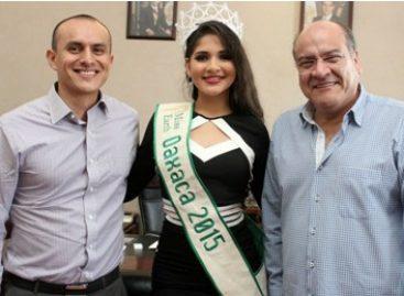 Recibe Javier Villacaña a Miss Earth Oaxaca 2015; le desea éxito en certamen nacional
