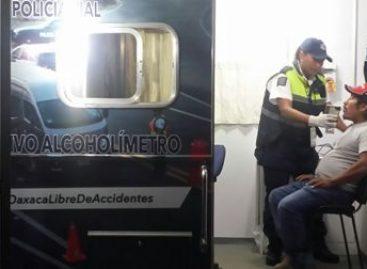 Reporta Policía Vial de Oaxaca 12 conductores arrestados por conducir en estado de ebriedad