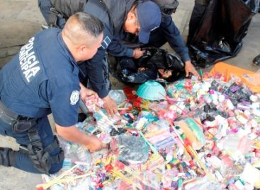Asegura Policía Municipal casi una tonelada de pirotecnia durante operativos en Oaxaca