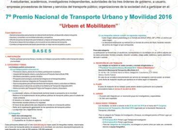 Cierra este viernes convocatoria al 7º Premio de Transporte Urbano y Movilidad 2016, que organiza la AMTM