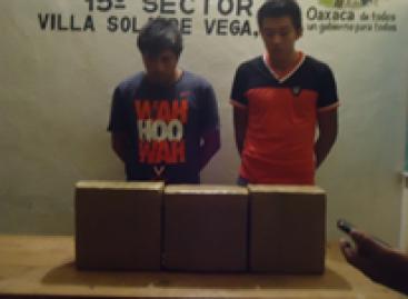 Detenidas dos personas con más de 27 kilogramos de marihuana en Sola de Vega, Oaxaca