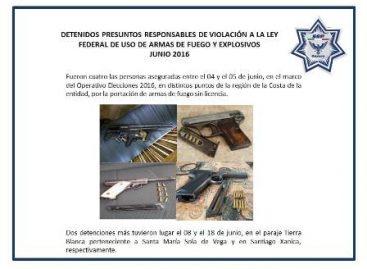 Confisca Policía de Oaxaca 162 armas de fuego en el primer semestre del 2016