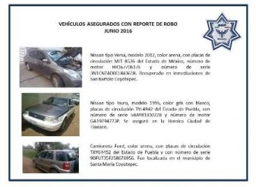 Recuperados 254 vehículos con reporte de robo durante el primer semestre del 2016