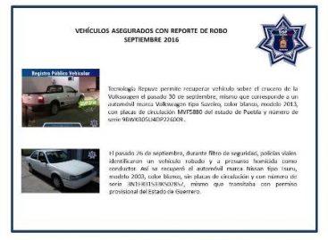 De enero a septiembre, localizan y recuperan 353 vehículos con reporte de robo: SSPO