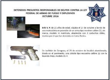Decomisadas este año 276 armas de fuego; 40 de ellas sólo en octubre
