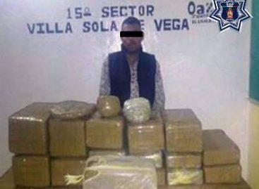 Detenido sujeto con más de 80 kilogramos de marihuana en la Sierra Sur de Oaxaca