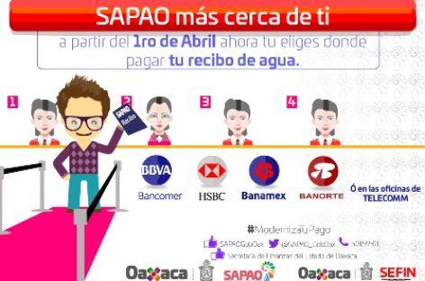 Bancariza SAPAO y Secretaría de Finanzas de Oaxaca pago del servicio de agua potable