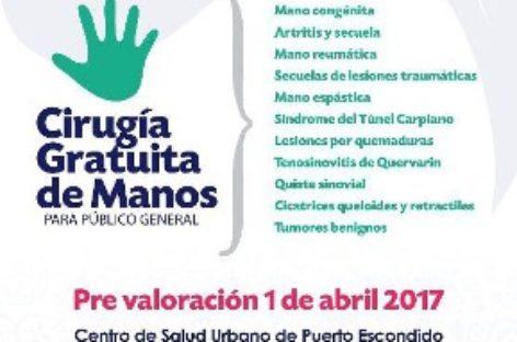 Realizarán jornada gratuita de cirugías de mano en Puerto Escondido, Oaxaca