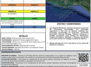 "Emite CEPCO alerta amarilla por depresión tropical ""2-E"" en Oaxaca"