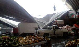 Caída del techo en las bodegas de frutas de la Central de Abastos.