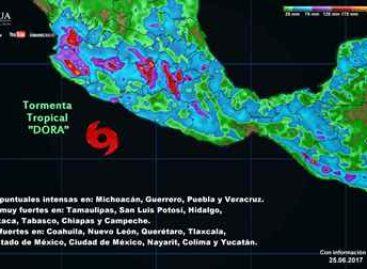 """Provocará """"Dora"""" y onda tropical 7 nublados densos con tormentas muy fuertes a intensas"""