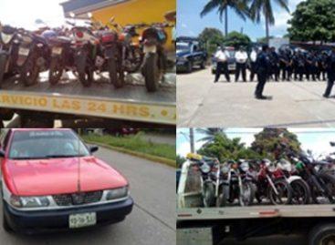 Tras operativo itinerante, aseguran 15 motocicletas en Matías Romero, Oaxaca