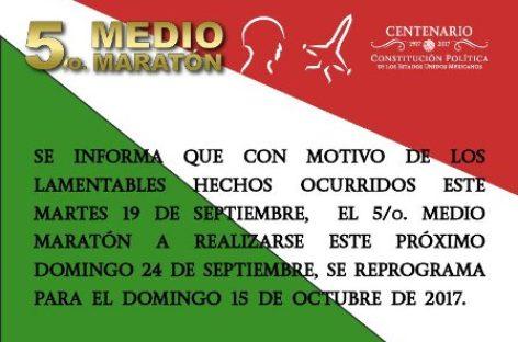 """Reprograma SEDENA Quinto Medio Maratón """"Centenario de la Constitución"""""""