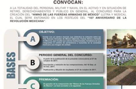 """Convocan a participar en concurso para crear el """"Himno de las Fuerzas Armadas de México"""""""