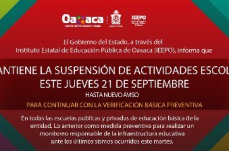 Este jueves, se mantiene suspensión de clases en Oaxaca