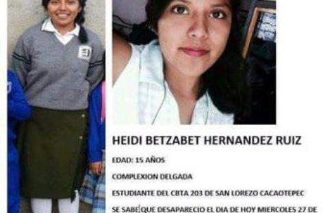 Se solicita apoyo para localizar a estudiante del CBTA de San Lorenzo Cacaotepec