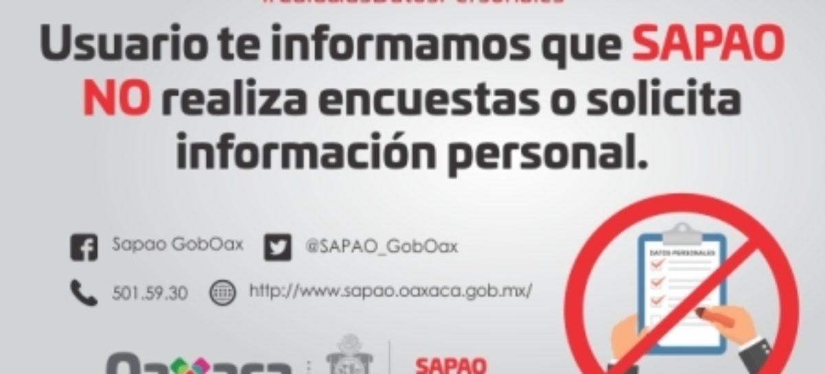 Alerta SAPAO sobre falsos encuestadores y pide reportar anomalías