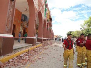 El terremoto daño el Palacio Municipal de Huajuapan de León.