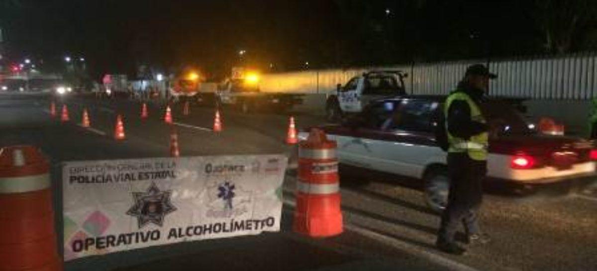 Arresta Policía Vial Estatal a 14 conductores en doble aplicación del Operativo Alcoholímetro