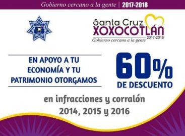 Aplica Gobierno de Xoxocotlán programa de descuentos en infracciones