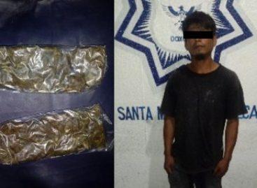 Detiene Policía Estatal a sujeto por delitos contra la salud en Santa María Tonameca