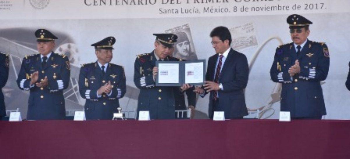 Emiten Estampilla Postal Conmemorativa al Centenario del Primer Correo Aéreo en México