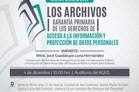Presentarán conferencia sobre la importancia de cada uno de los archivos en la vida social