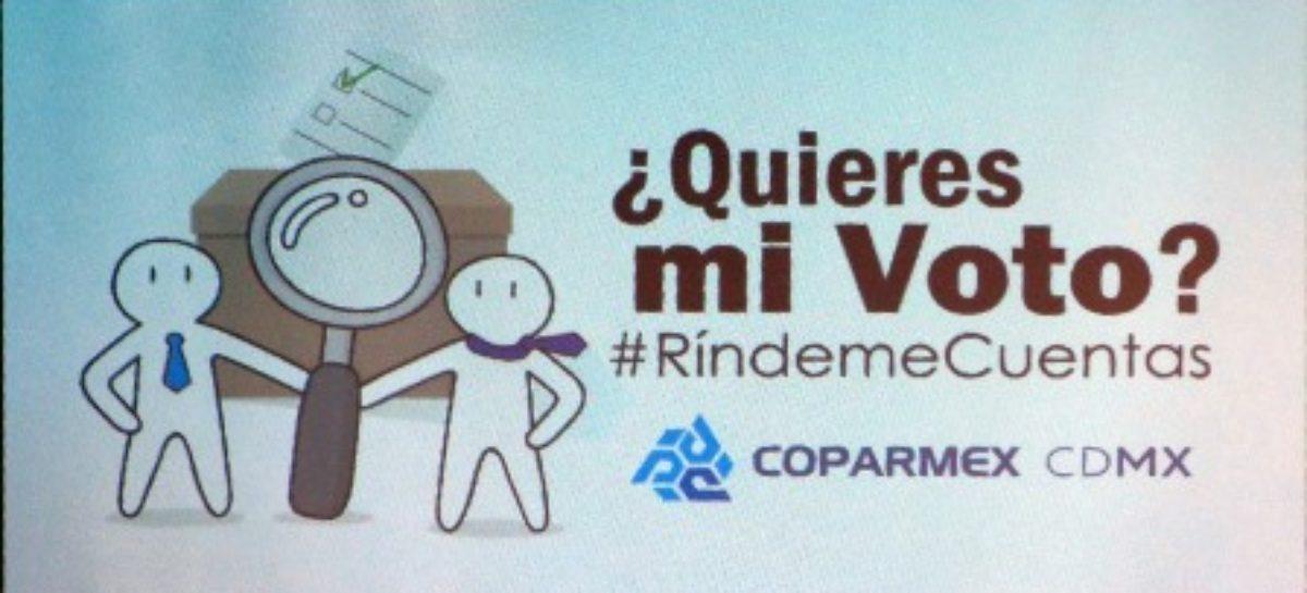 Lanza COPARMEX CDMX campaña de rendición de cuentas para aspirantes al 2018