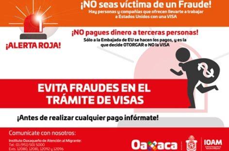 Alerta IOAM sobre trámites falsos de visas a Estados Unidos